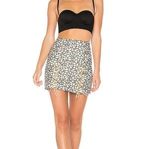 Revolve NBD White Daisy Embroidered Mini Skirt XS